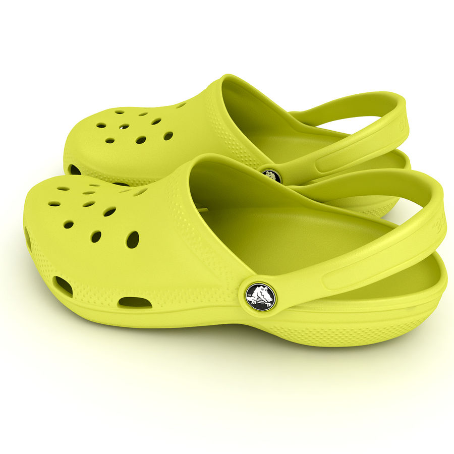 Crocs Shoes, Sandals, & Clogs in Lime color royalty-free 3d model - Preview no. 7