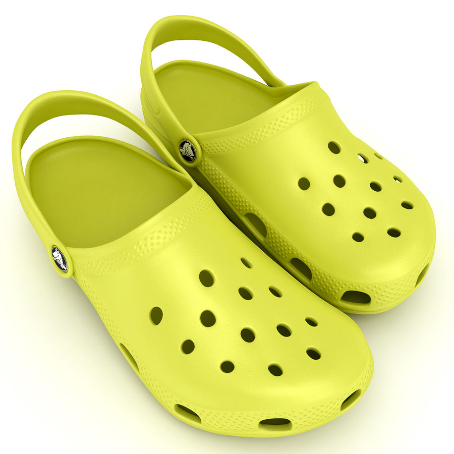 Crocs Shoes, Sandals, & Clogs in Lime color royalty-free 3d model - Preview no. 5