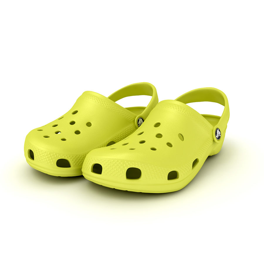 Crocs Shoes, Sandals, & Clogs in Lime color royalty-free 3d model - Preview no. 9