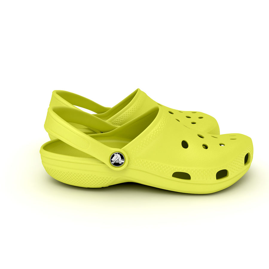 Crocs Shoes, Sandals, & Clogs in Lime color royalty-free 3d model - Preview no. 11
