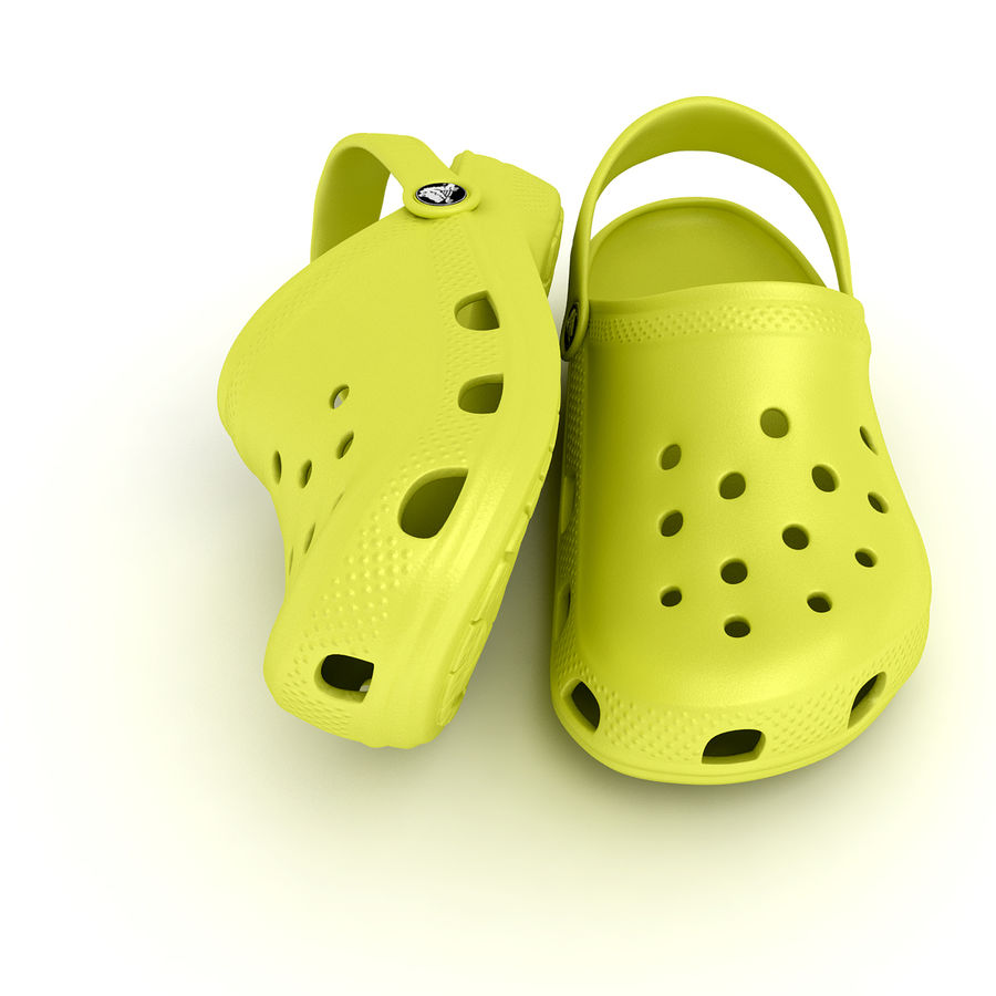 Crocs Shoes, Sandals, & Clogs in Lime color royalty-free 3d model - Preview no. 4