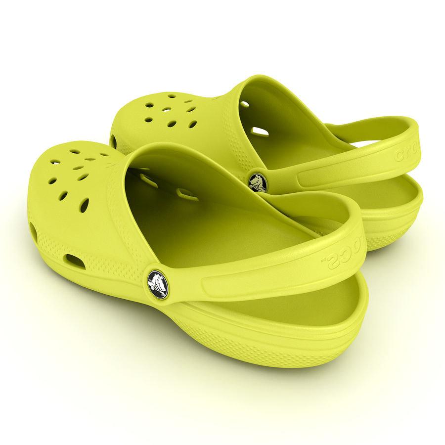Crocs Shoes, Sandals, & Clogs in Lime color royalty-free 3d model - Preview no. 8