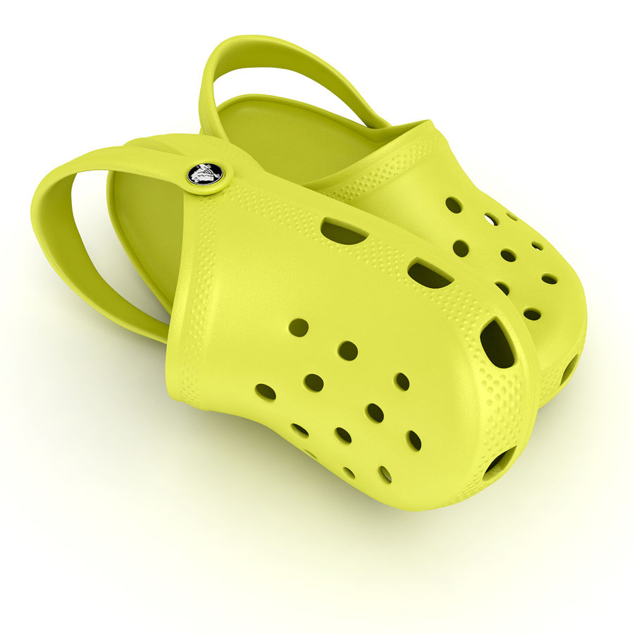 Crocs Shoes, Sandals, & Clogs in Lime color royalty-free 3d model - Preview no. 2