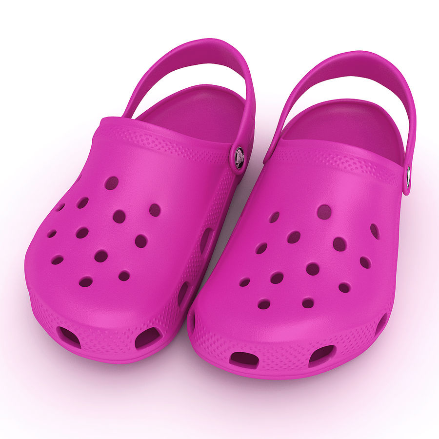Crocs Shoes, Sandals, & Clogs in Pink color royalty-free 3d model - Preview no. 9