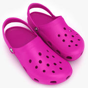 Crocs Shoes, Sandals, & Clogs in Pink color 3d model