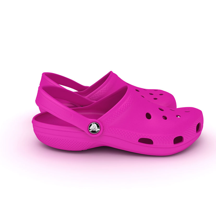Crocs Shoes, Sandals, & Clogs in Pink color royalty-free 3d model - Preview no. 5