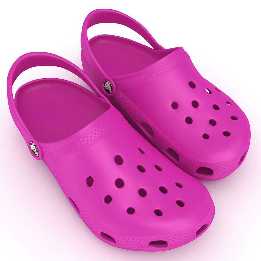 Crocs Shoes, Sandals, & Clogs in Pink color royalty-free 3d model - Preview no. 2