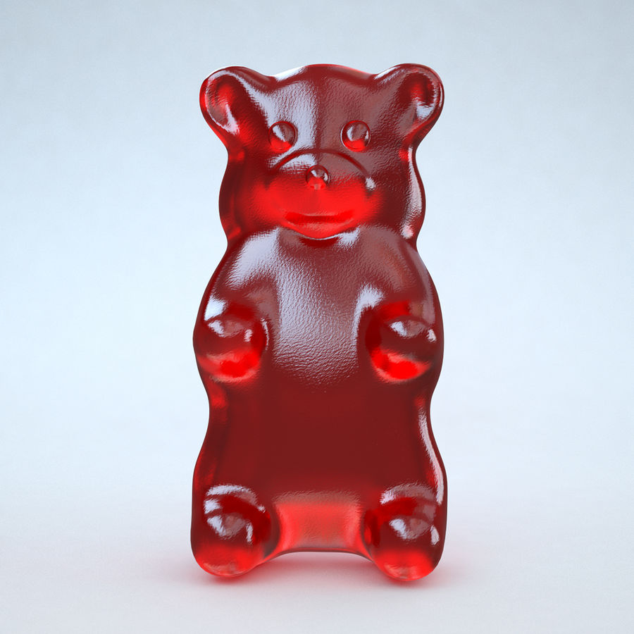 Red Gummy Bear royalty-free 3d model - Preview no. 2