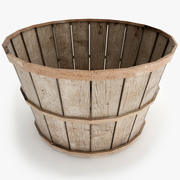 Old Wood Basket 3d model