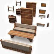 Simplier Old Furniture Collection 3d model