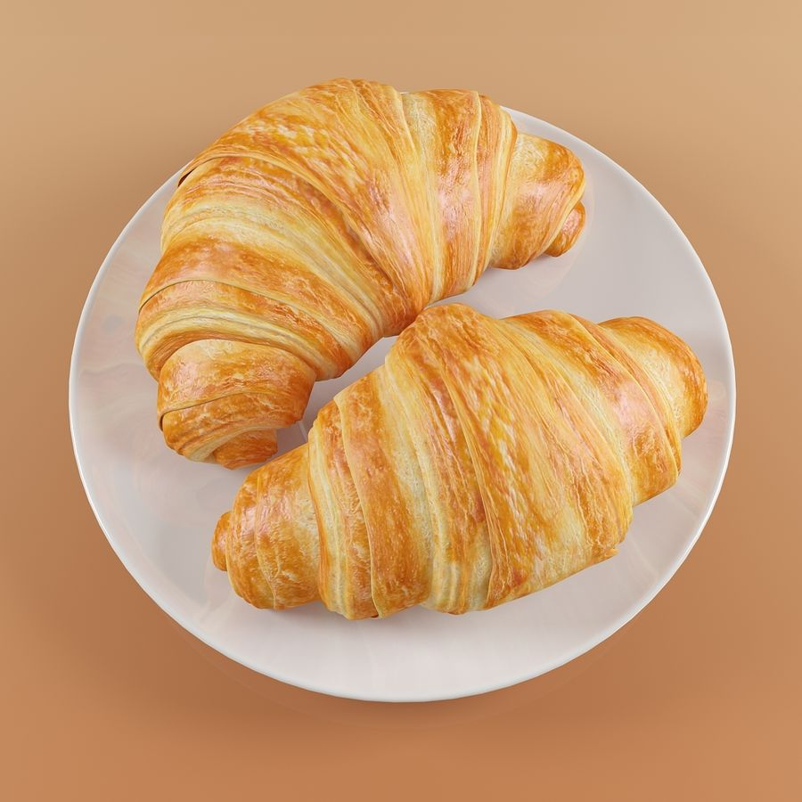 Croissant 4 royalty-free modelo 3d - Preview no. 4