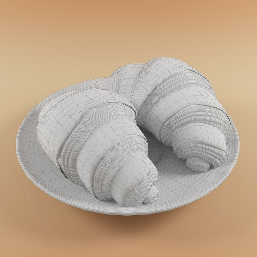 Croissant 4 royalty-free modelo 3d - Preview no. 11