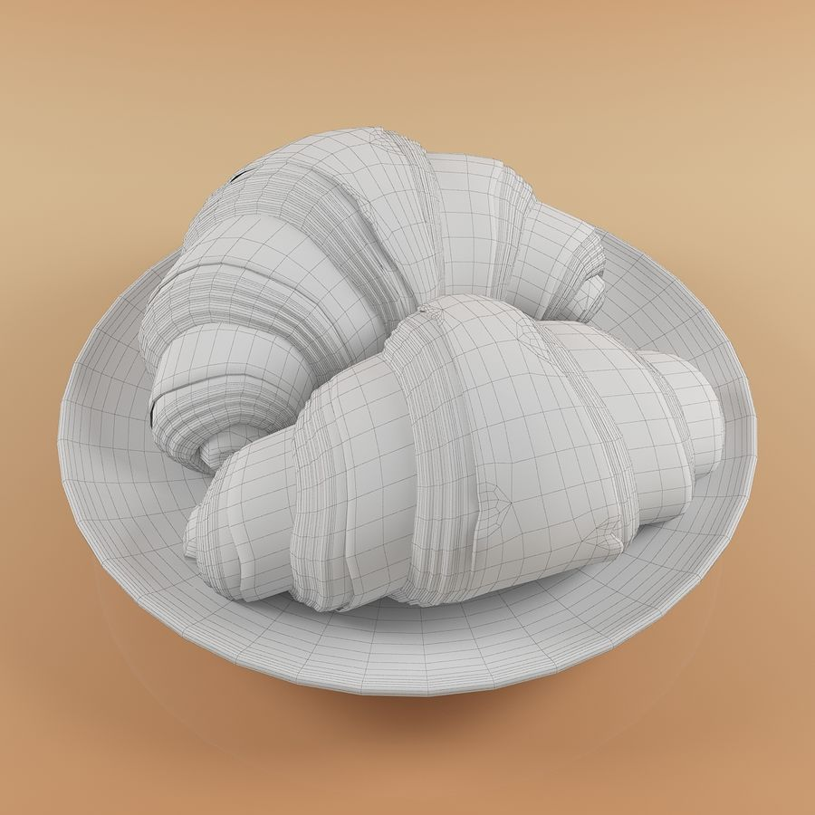Croissant 4 royalty-free modelo 3d - Preview no. 10