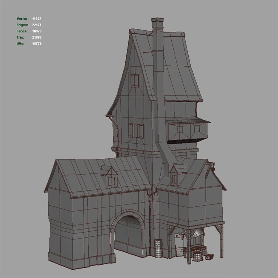 Old Blacksmiths House royalty-free 3d model - Preview no. 15