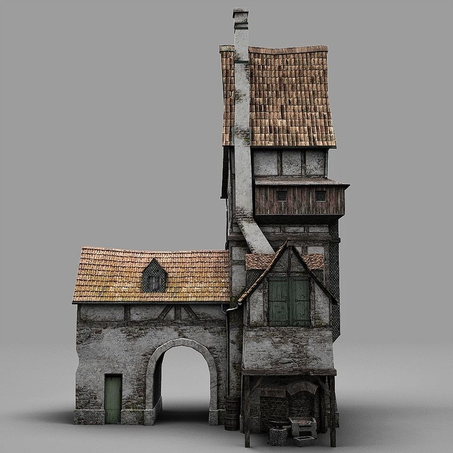 Old Blacksmiths House royalty-free 3d model - Preview no. 9