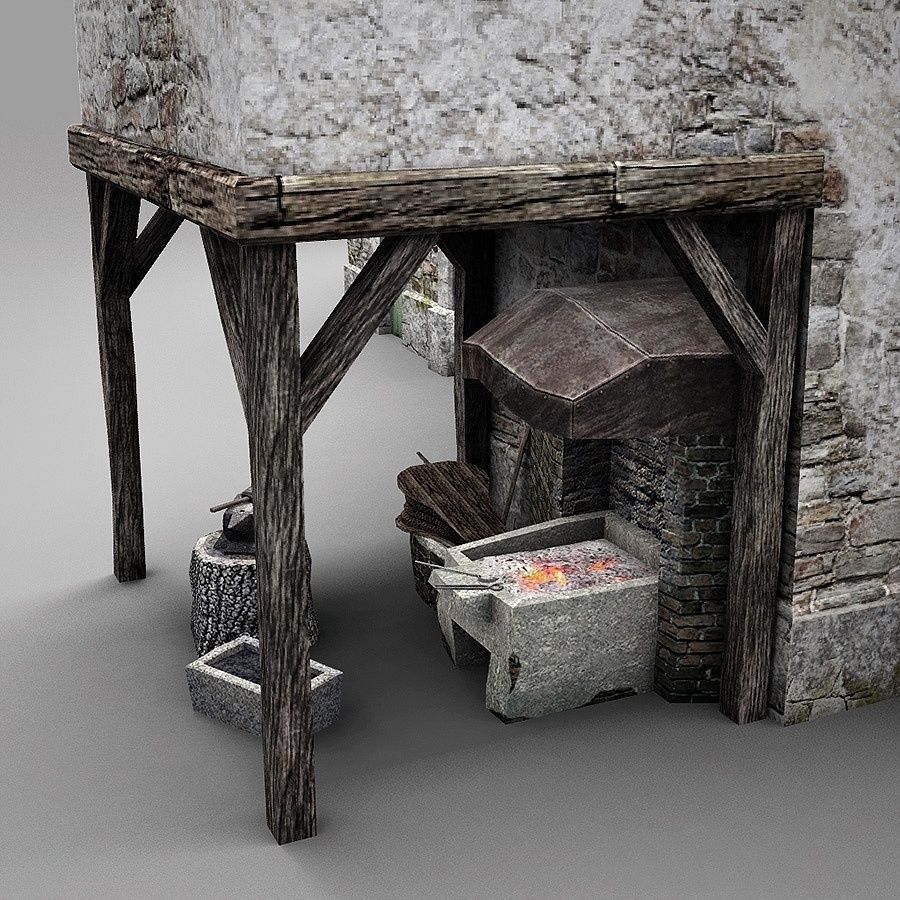 Old Blacksmiths House royalty-free 3d model - Preview no. 13