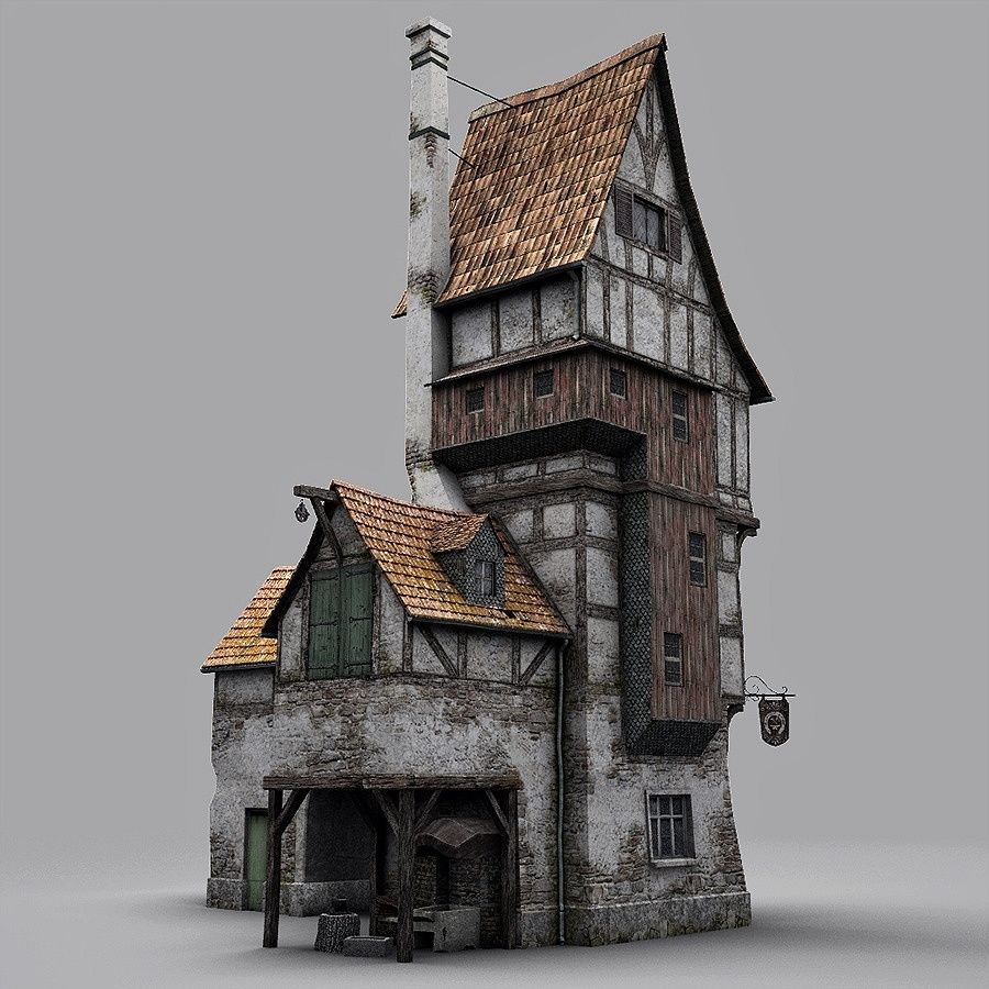 Old Blacksmiths House royalty-free 3d model - Preview no. 4