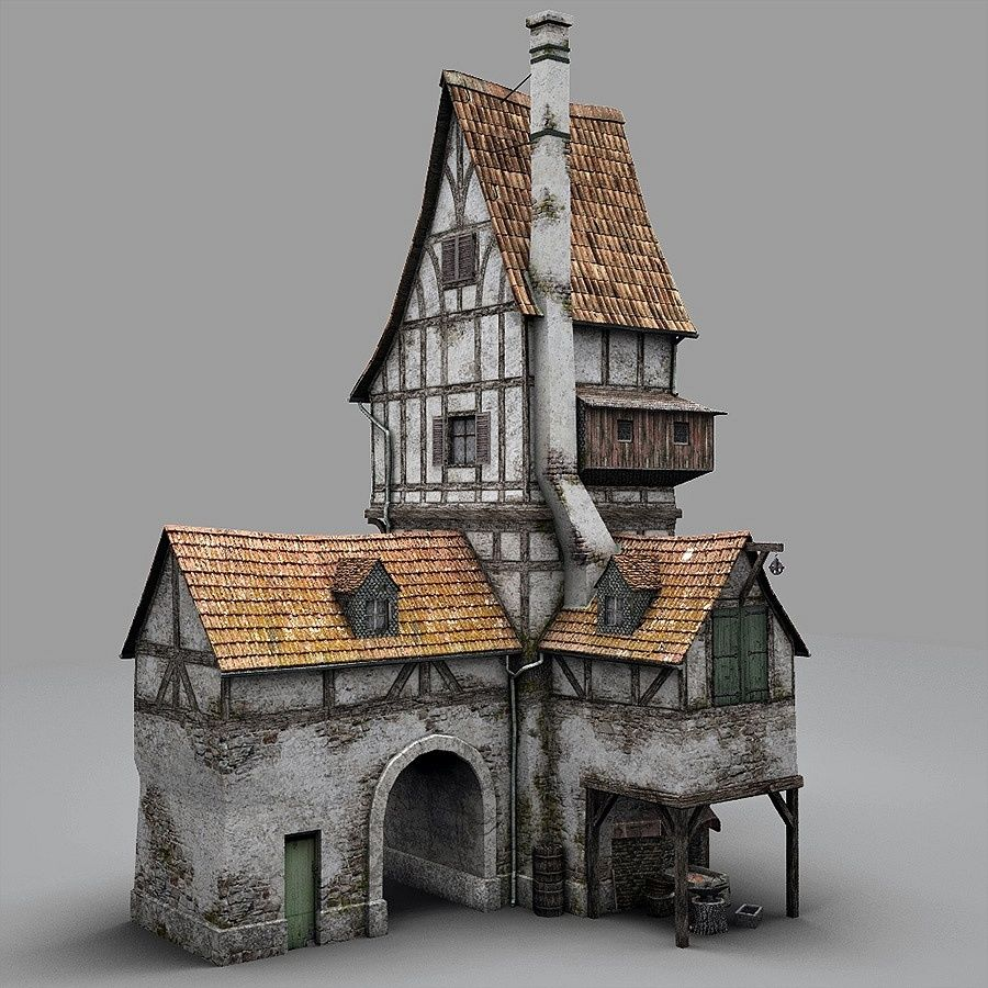 Old Blacksmiths House royalty-free 3d model - Preview no. 3