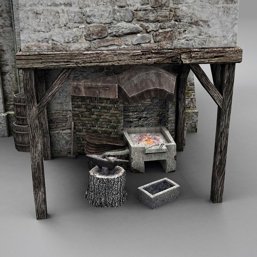 Old Blacksmiths House royalty-free 3d model - Preview no. 12