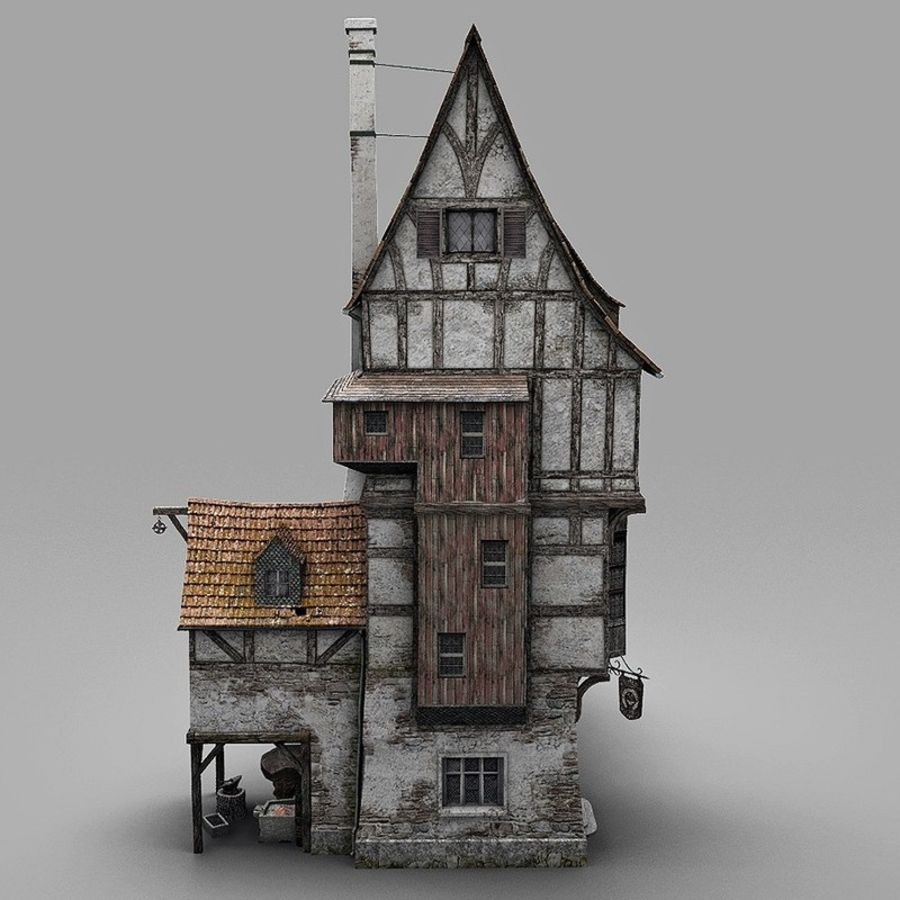 Old Blacksmiths House royalty-free 3d model - Preview no. 10