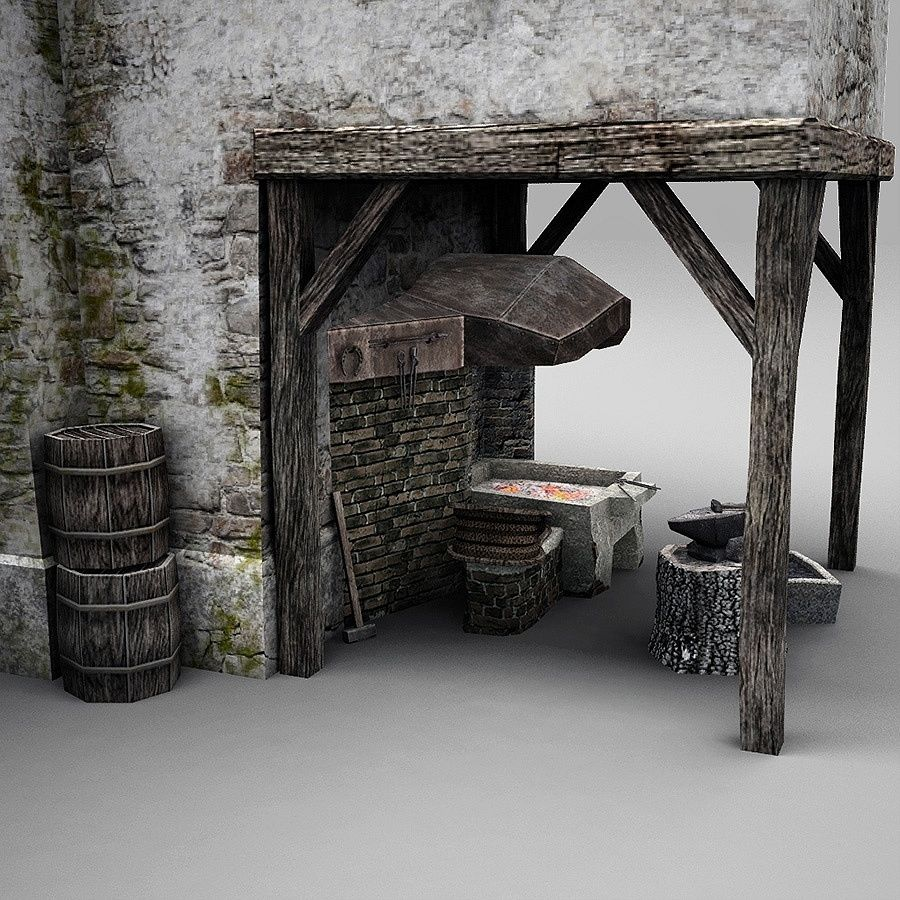 Old Blacksmiths House royalty-free 3d model - Preview no. 11