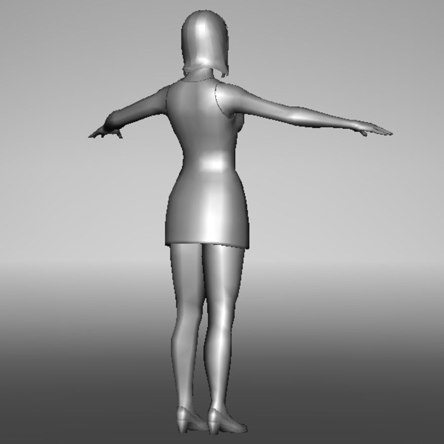 ragazza lowpoly royalty-free 3d model - Preview no. 3