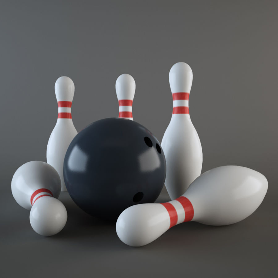 Bowling Ball & Pins royalty-free 3d model - Preview no. 3