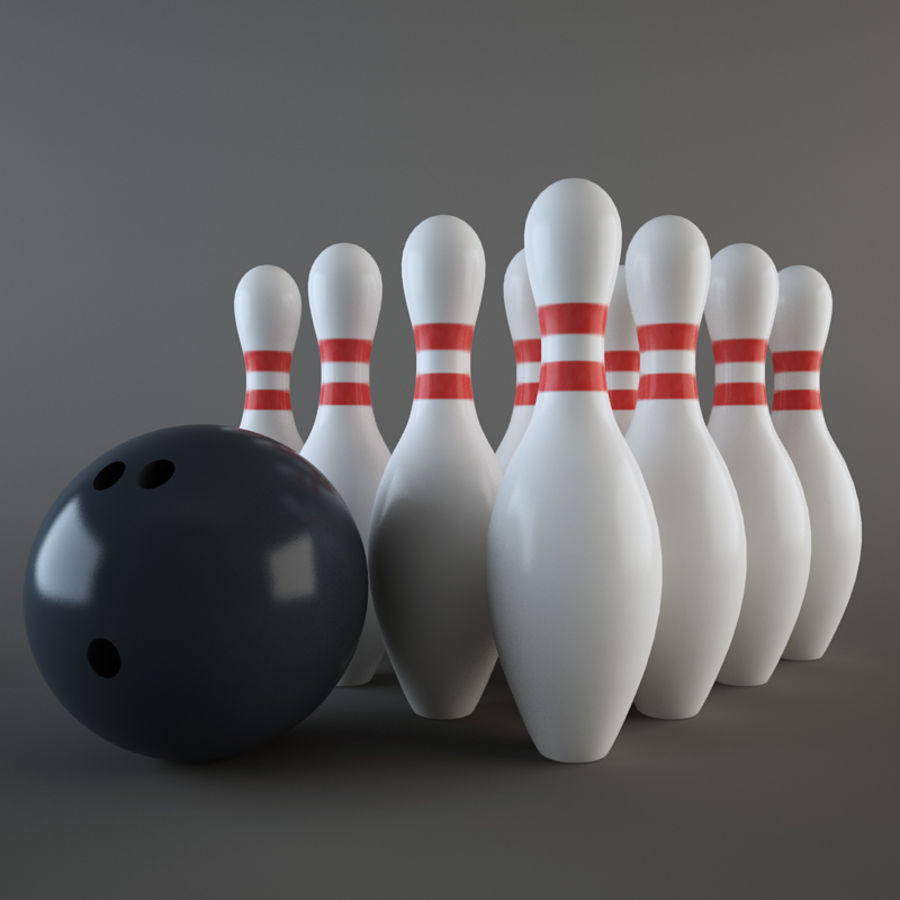 Bowling Ball & Pins royalty-free 3d model - Preview no. 2