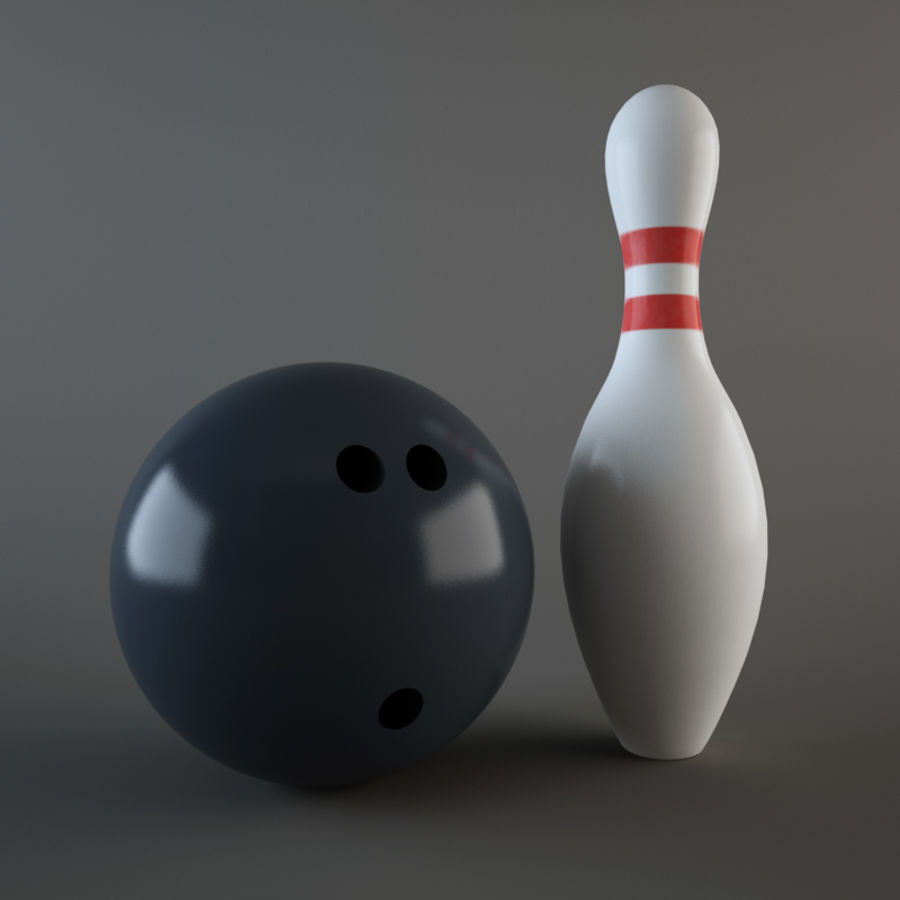 Bowling Ball & Pins royalty-free 3d model - Preview no. 4