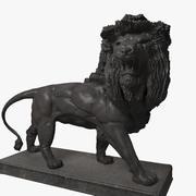 Statue De Lion En Métal 3d model