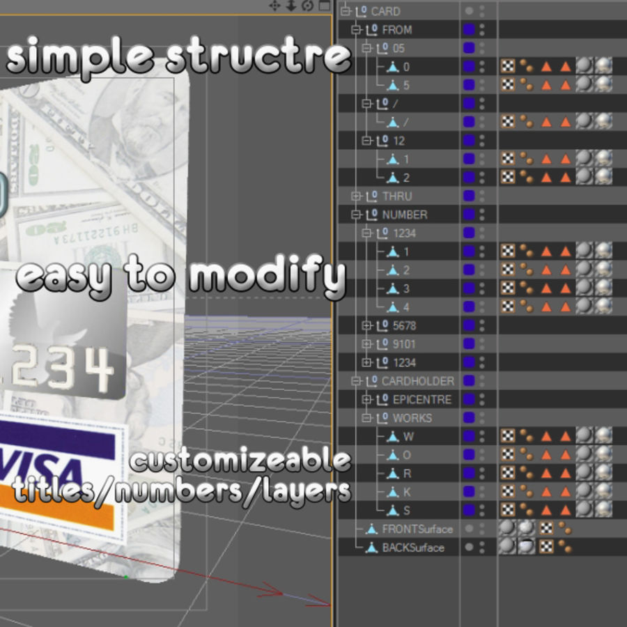 Bank Credit Card royalty-free 3d model - Preview no. 2