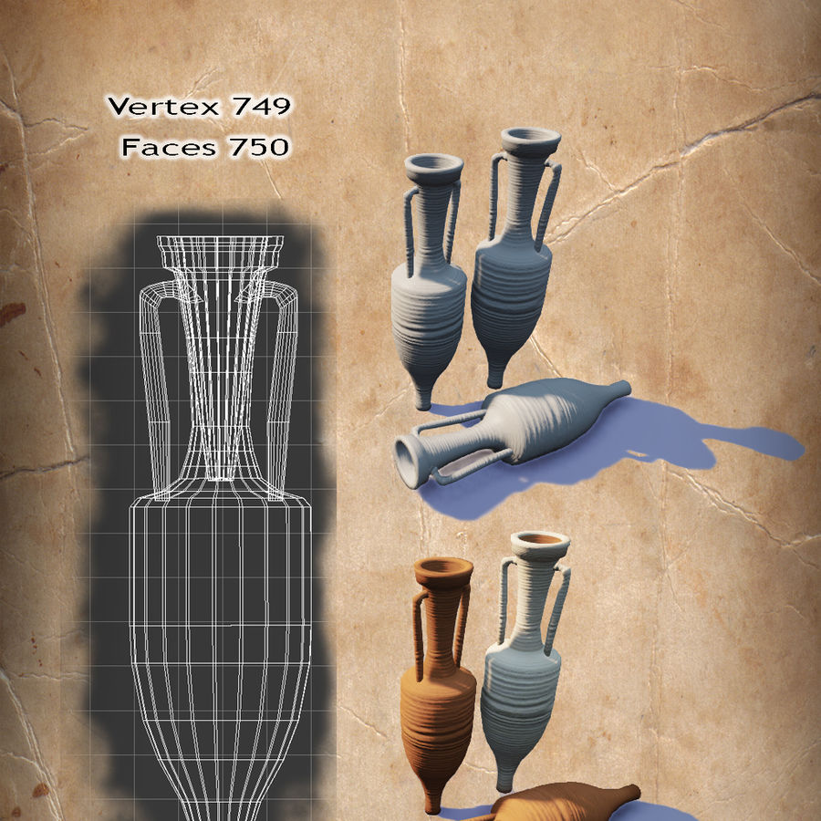 Amphoras royalty-free 3d model - Preview no. 2