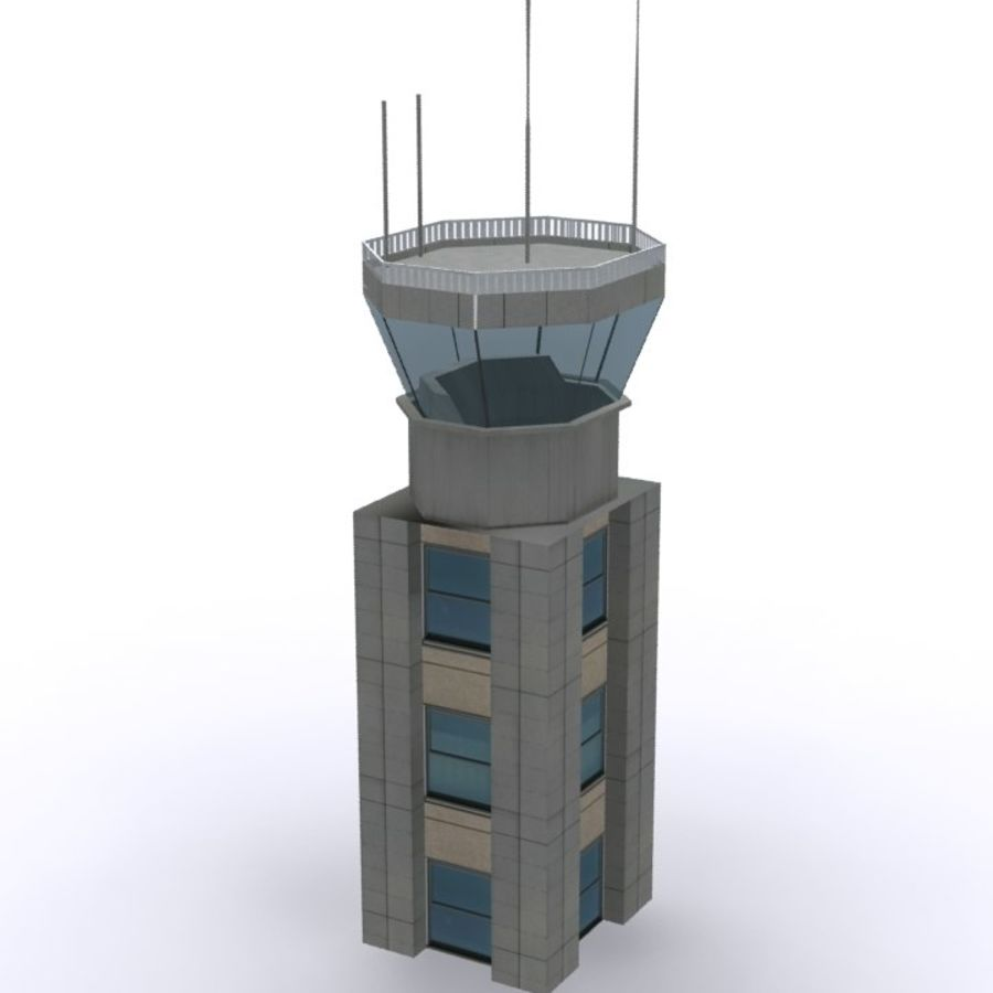 Flight Control Tower 1 royalty-free 3d model - Preview no. 2