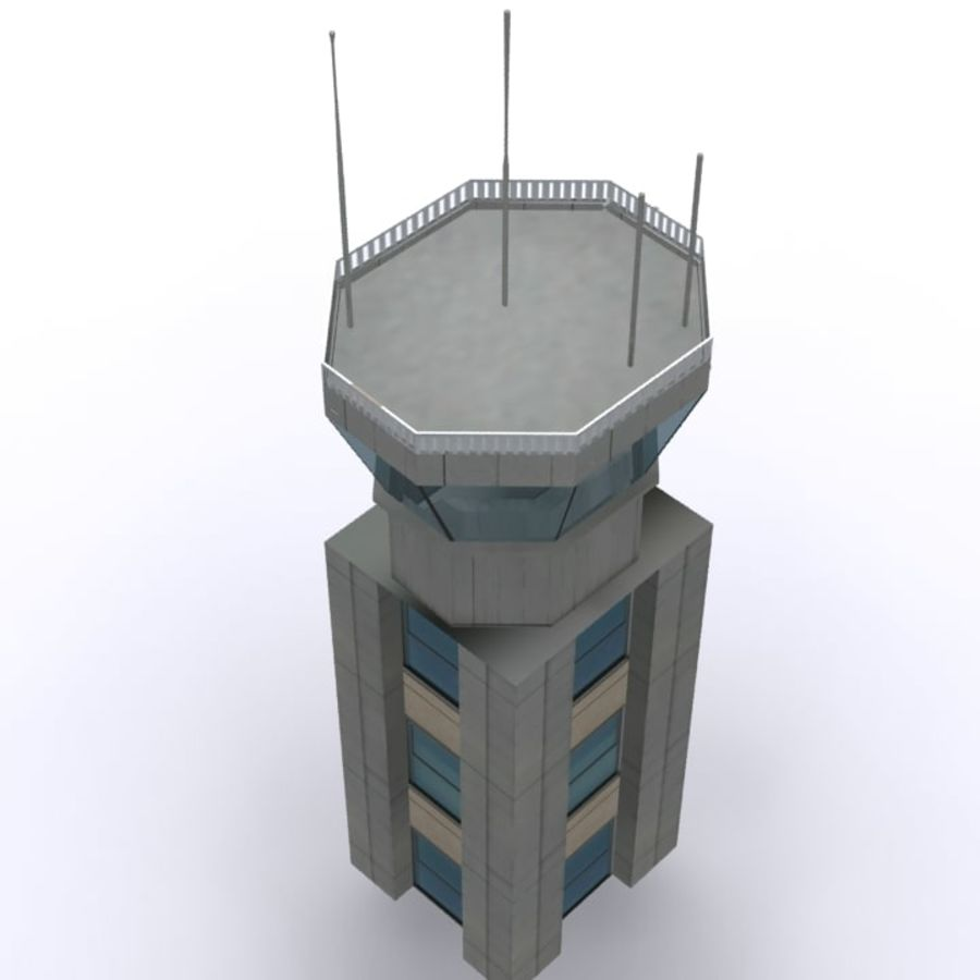 Flight Control Tower 1 royalty-free 3d model - Preview no. 4