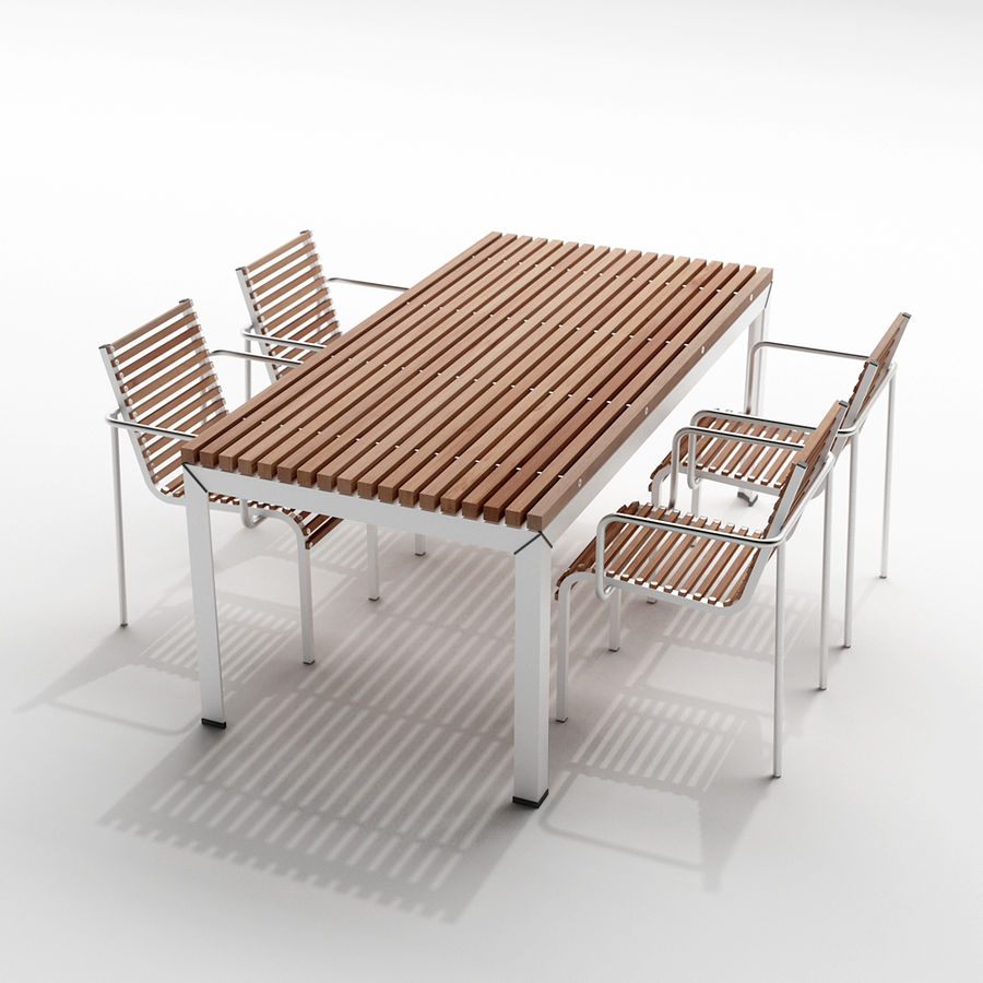 extremis extempore garden table and chairs 3d model - Garden Furniture 3d
