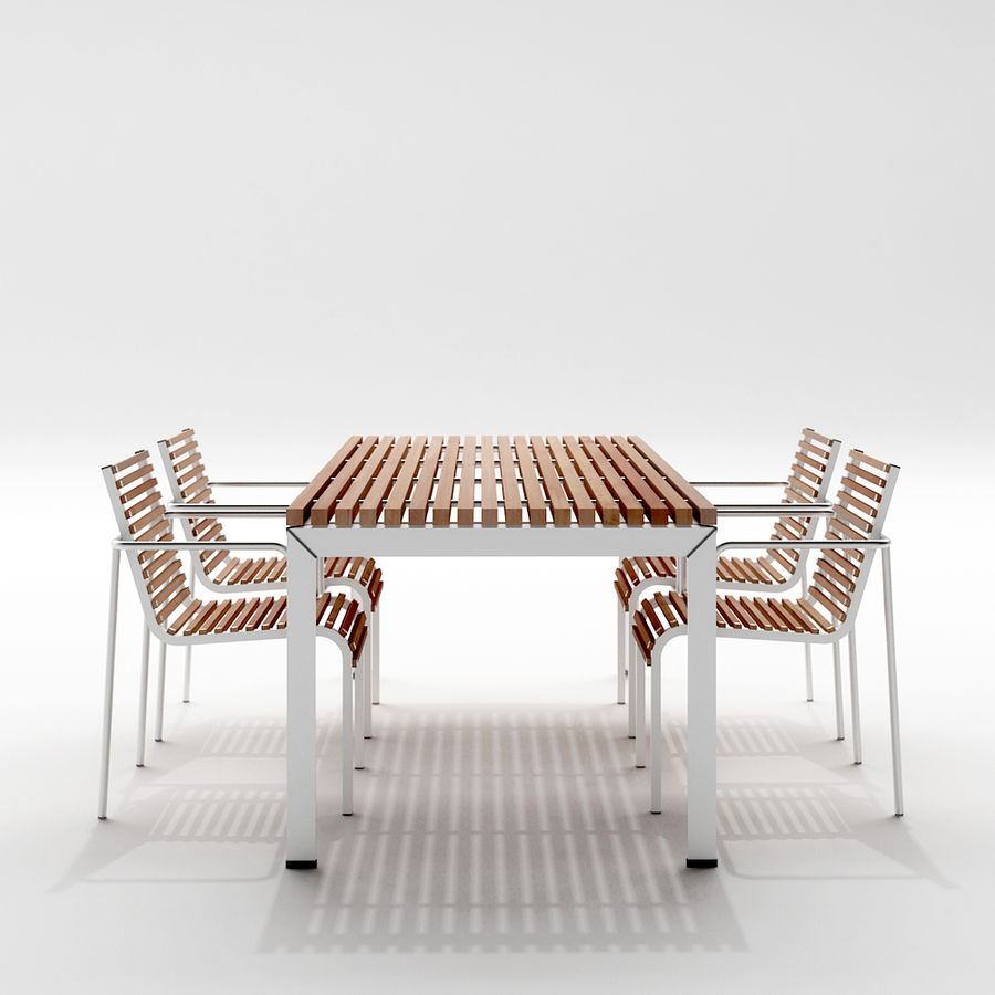 1 extremis extempore garden table and chairs royalty free 3d model preview no - Garden Furniture 3d Model