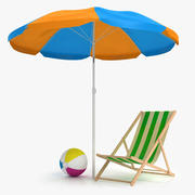 Beach Chair and Umbrella 3d model