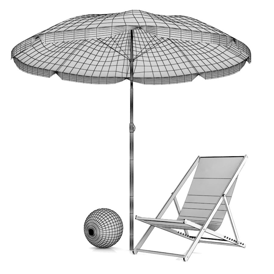 Chaise de plage et parasol royalty-free 3d model - Preview no. 2