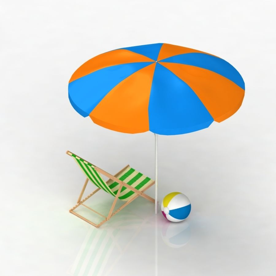 Chaise de plage et parasol royalty-free 3d model - Preview no. 5