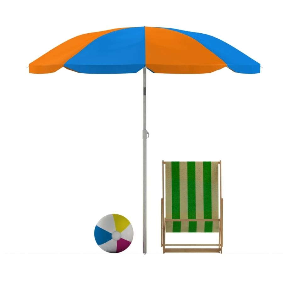 Chaise de plage et parasol royalty-free 3d model - Preview no. 6