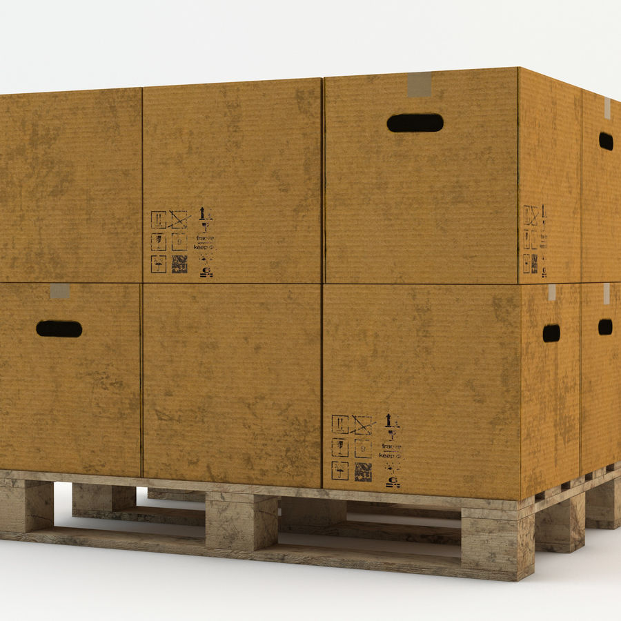 Pallet boxes royalty-free 3d model - Preview no. 4
