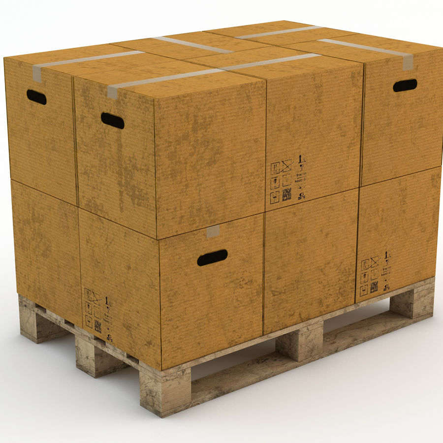 Pallet boxes royalty-free 3d model - Preview no. 3