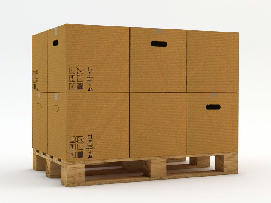 Pallet boxes royalty-free 3d model - Preview no. 2