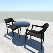 Czarne wiklinowe stoły - krzesła 3d model