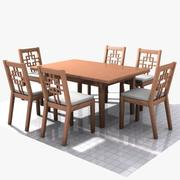 Wooden Table & Chairs 3d model