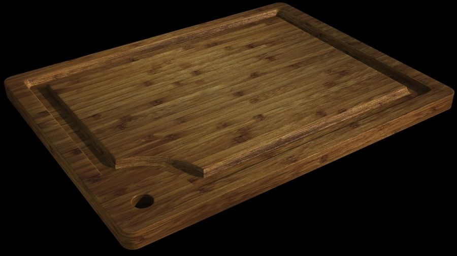 Bamboo cutting board royalty-free 3d model - Preview no. 1