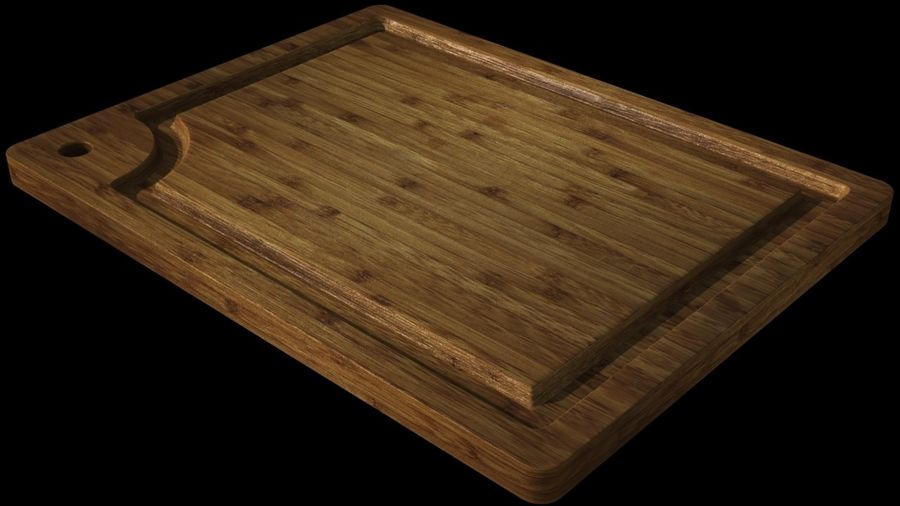 Bamboo cutting board royalty-free 3d model - Preview no. 3