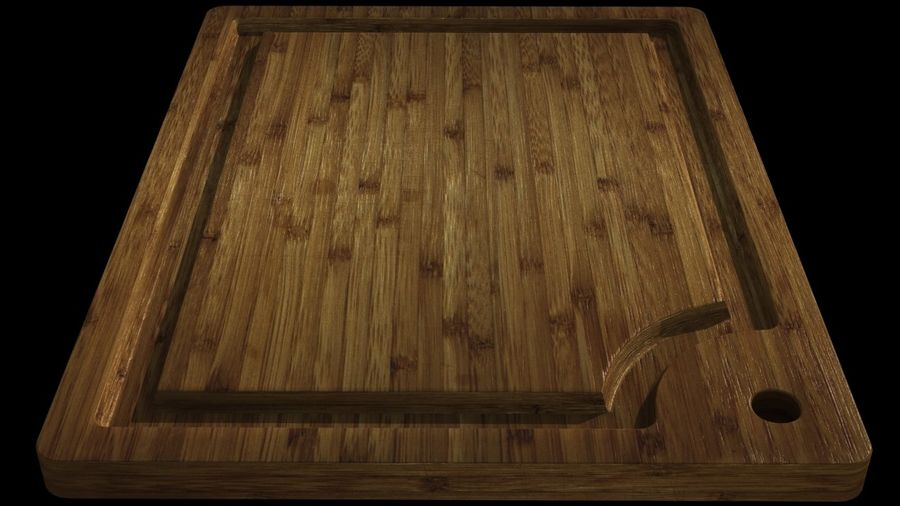 Bamboo cutting board royalty-free 3d model - Preview no. 4