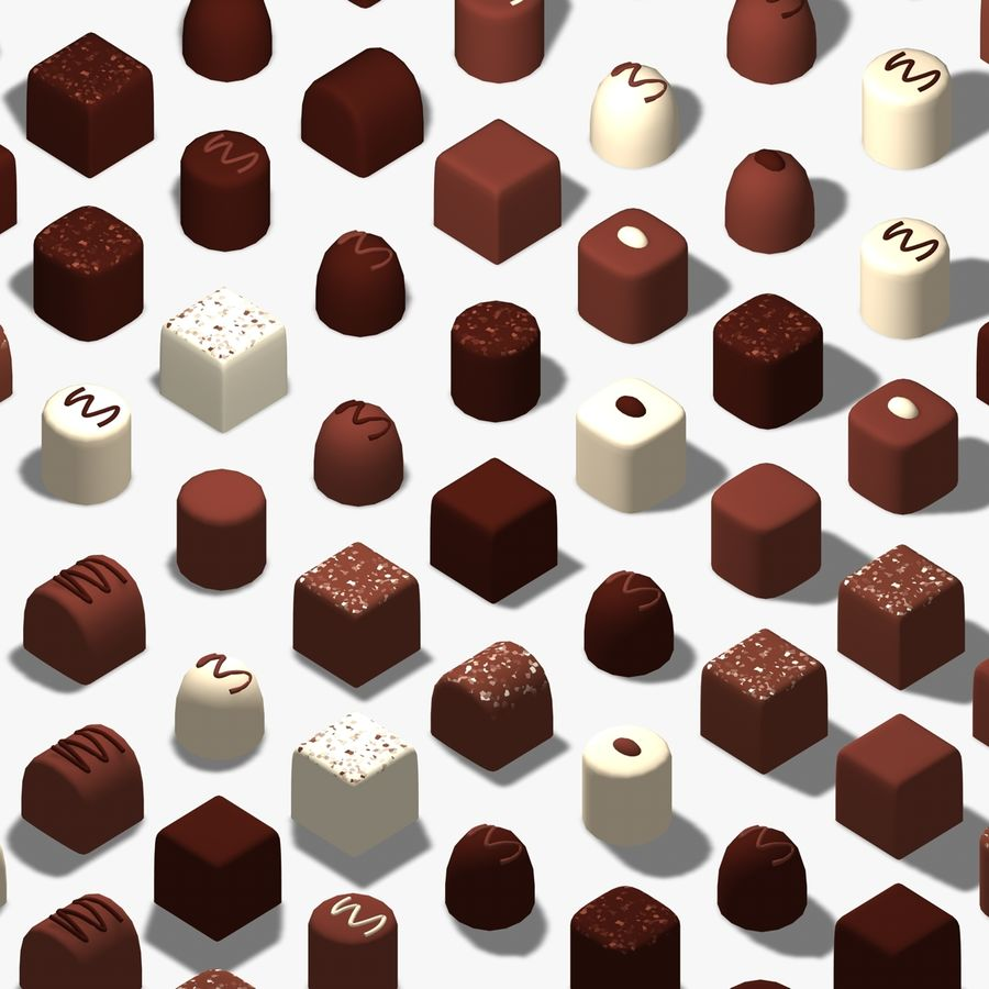 Chocolats simples royalty-free 3d model - Preview no. 2