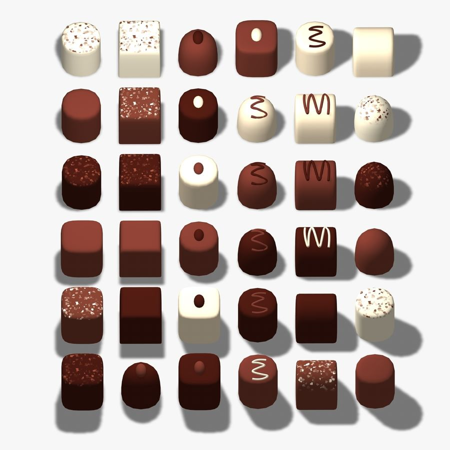Chocolats simples royalty-free 3d model - Preview no. 1